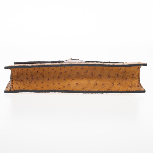 Saint Laurent Paris Tan Ostrich Copper Flap Clutch