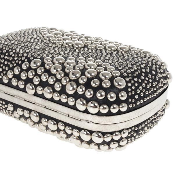 Alexander McQueen Silver Studded Skull Box Clutch