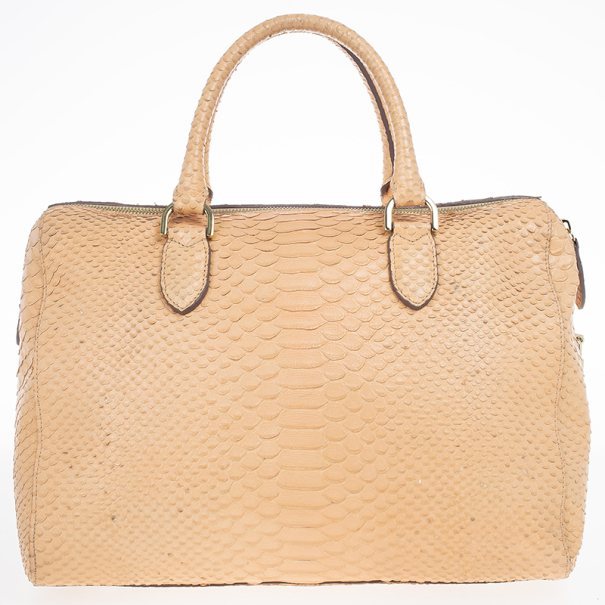 Mulberry Peach Silky Snake-Embossed Leather Del Rey Tote