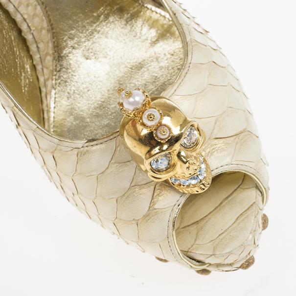 Alexander McQueen Python Pearl Skull Studded Peep Toe Pumps Size 39