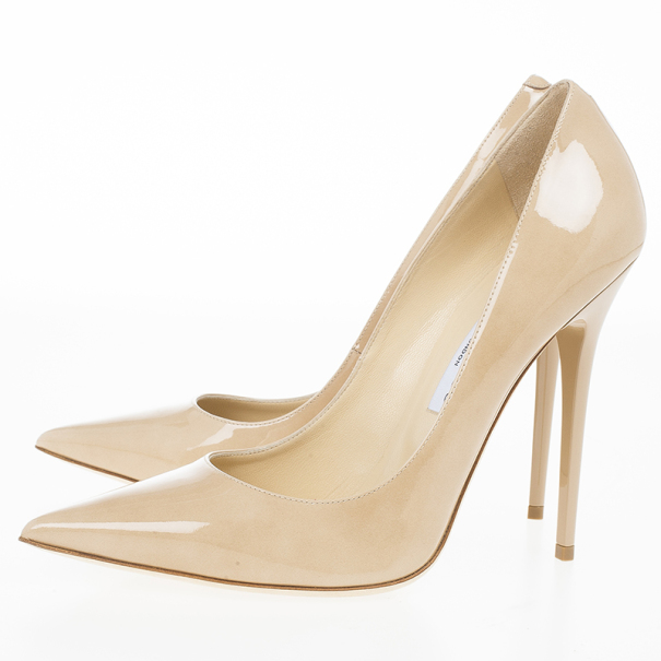 Jimmy Choo Nude Patent Anouk Pointed Toe Pumps Size 40