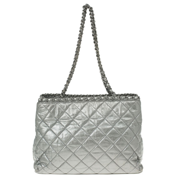 Chanel Metallic Leather Chain Me Tote