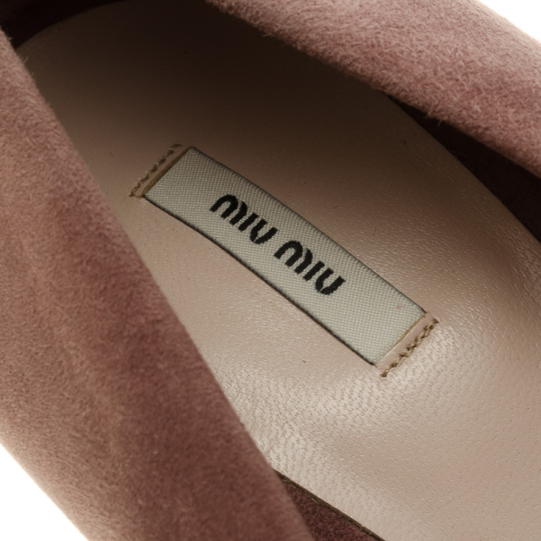 Miu Miu Brown Suede Peep Toe Platform Pumps Size 39.5