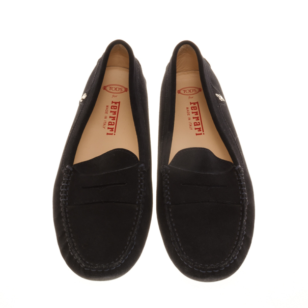 Tod's for Ferrari Black Suede Loafers Size 40