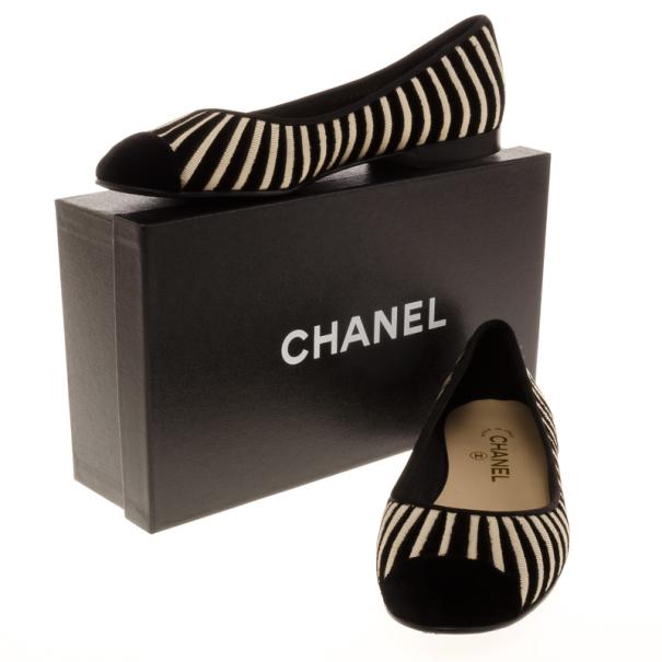 Chanel Black Velvet Striped Ballet Flats Size 39.5