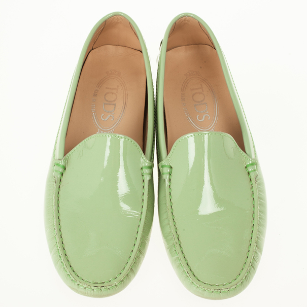 Tod's Mint Patent Leather Classic Loafers Size 37.5