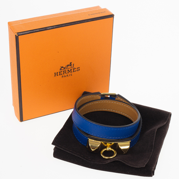 Hermes Electric Blue Swift Rivale Double Tour Small Bracelet