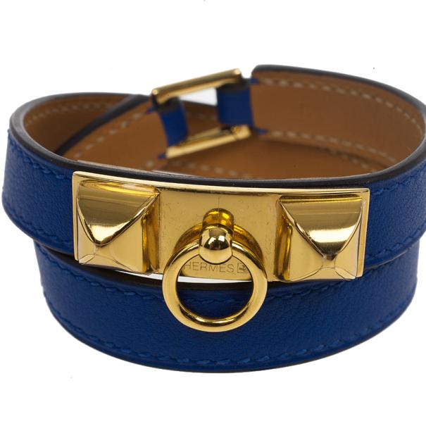 Hermes Electric Blue Swift Rivale Double Tour Small Bracelet