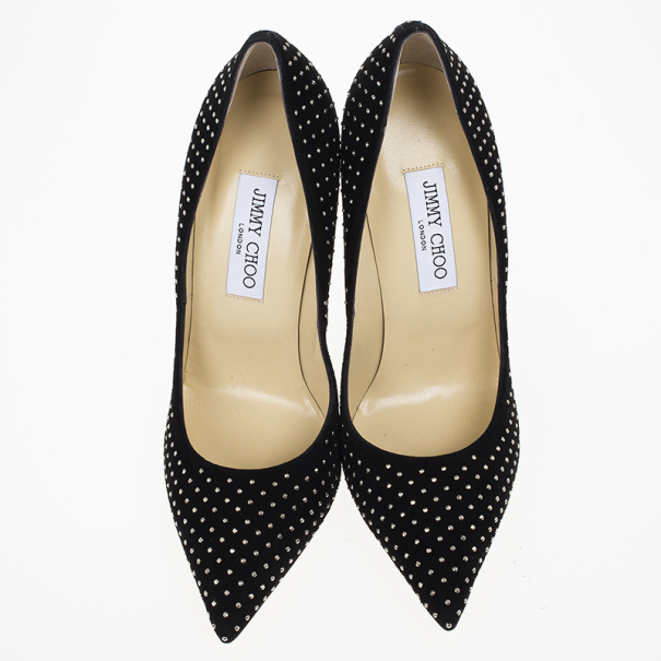 Jimmy Choo Black Suede Anouk Studded Pointed Toe Pumps Size 39