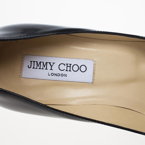 Jimmy Choo Black Patent Cosmic Platform Pumps Size 38.5