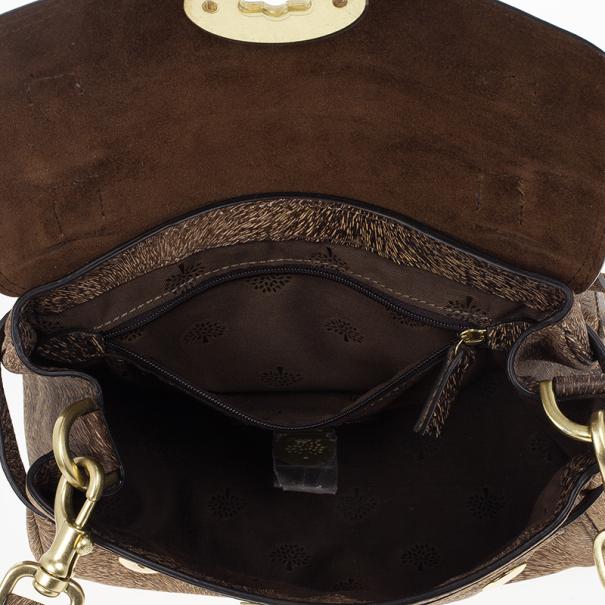 Mulberry Mini Bark Brown Furry Print Alexa Bag