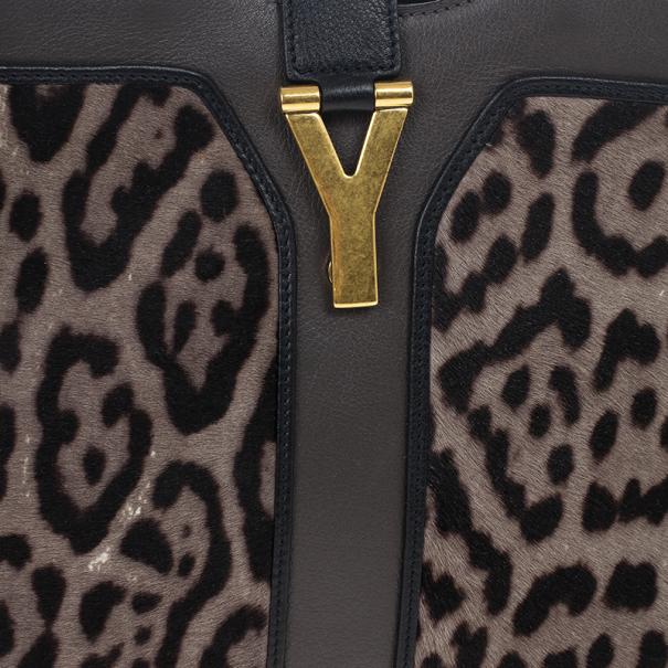 Saint Laurent Paris Leopard Calfhair Medium Chyc Shoulder Bag