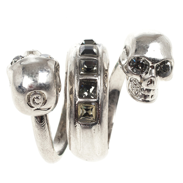 Alexander McQueen Spiral Twin Skull With Black Crystals Ring Size 53