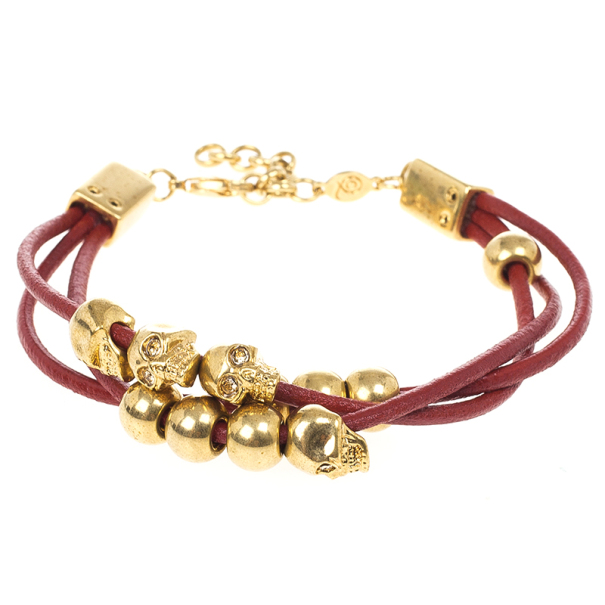 Alexander McQueen Multi Skull Leather Bracelet