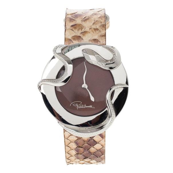 Roberto Cavalli Brown Stainless Steel Snake Women's Wristwatch 38MM