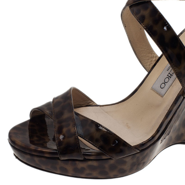 Jimmy Choo Leopard Print Criss Cross Ankle Strap Wedge Sandals Size 40