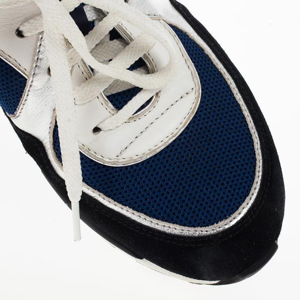 Chanel Black, White & Blue Lace Up Sneakers Size 38.5