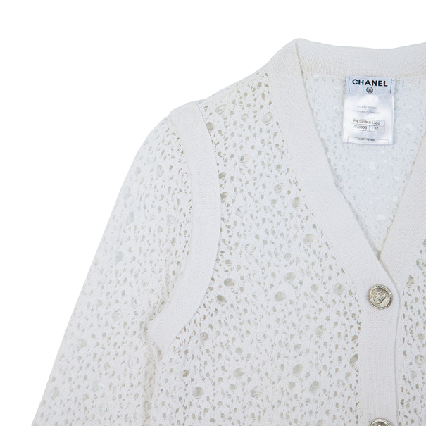 Chanel White Crochet Cardigan S