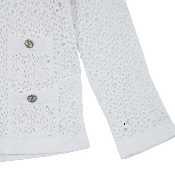 Chanel White Crochet Cardigan S