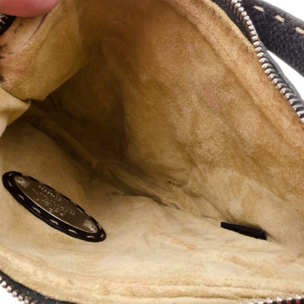 Fendi Limited Edition Black Leather Small Wave Hobo