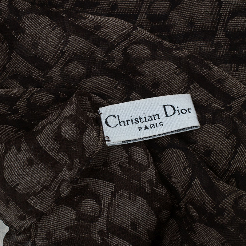 Dior Brown Silk Textured Monogram Stole