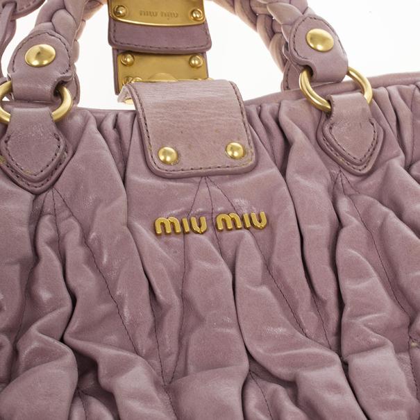 Miu Miu Pink Quilted Calfskin 'Matelasse' Hobo