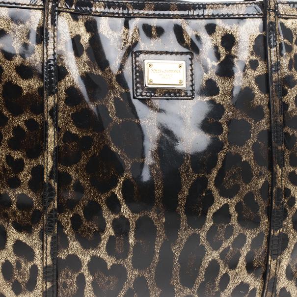 Dolce and Gabbana Leopard Print Miss Escape Tote Bag