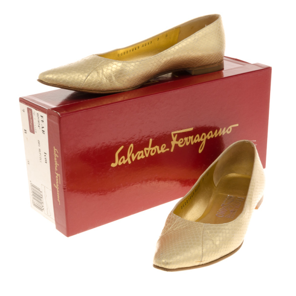 Salvatore Ferragamo Metallic Snake Embossed Pointed Toe Ballet Flats Size 37