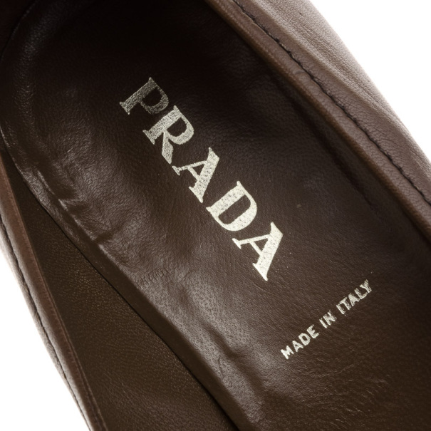 Prada Brown Leather Pointed Toe Kitten Heel Pumps Size 36.5