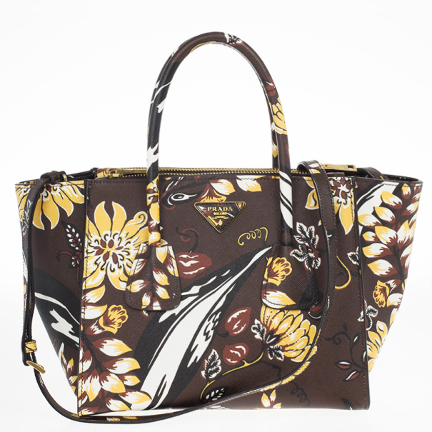 Prada Floral Saffiano Twin Pocket Tote Bag