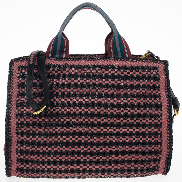 Prada Black Mauve Woven Leather 'Madras' Tote