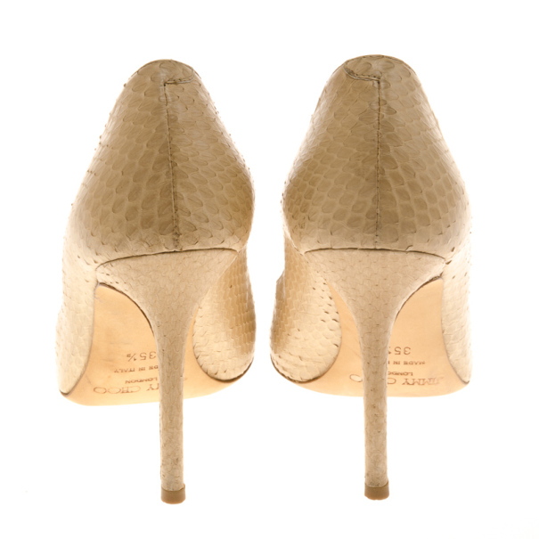 Jimmy Choo Beige Snake Embossed Leather 'Anouk' Pumps Size 35.5