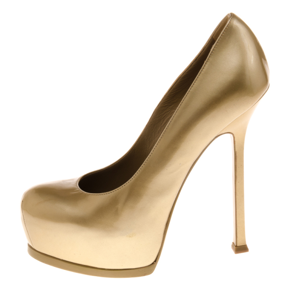 Saint Laurent Paris Gold Tribtoo Platform Pumps Size 36