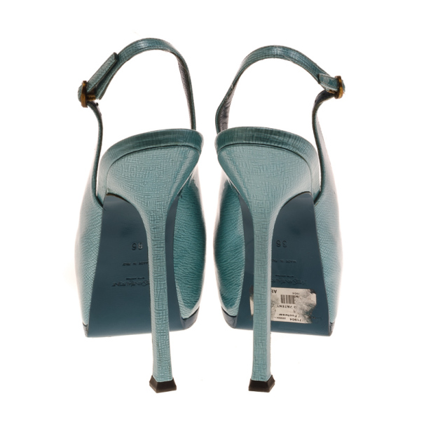 Saint Laurent Paris Light Blue Patent Tribtoo Slingback Sandals Size 36