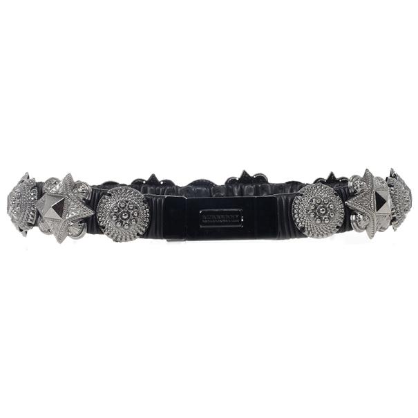 Burberry Prorsum Harlech Black Leather Stretch Studded Warrior Belt