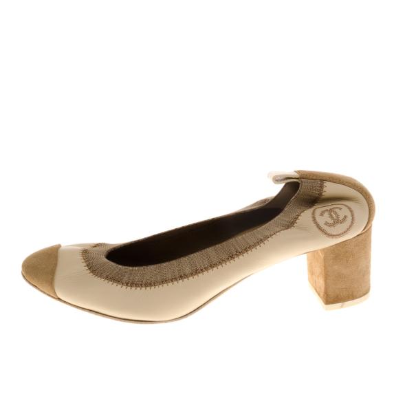 Chanel Beige Elastic Ballet Pumps Size 35