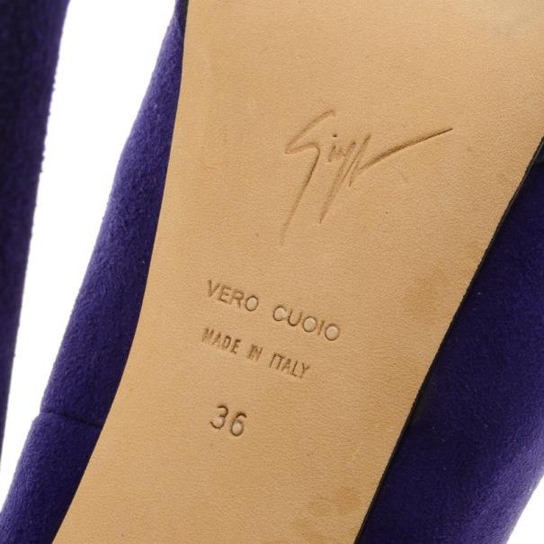 Giuseppe Zanotti Purple Suede Ankle Strap Platform Pumps Size 36