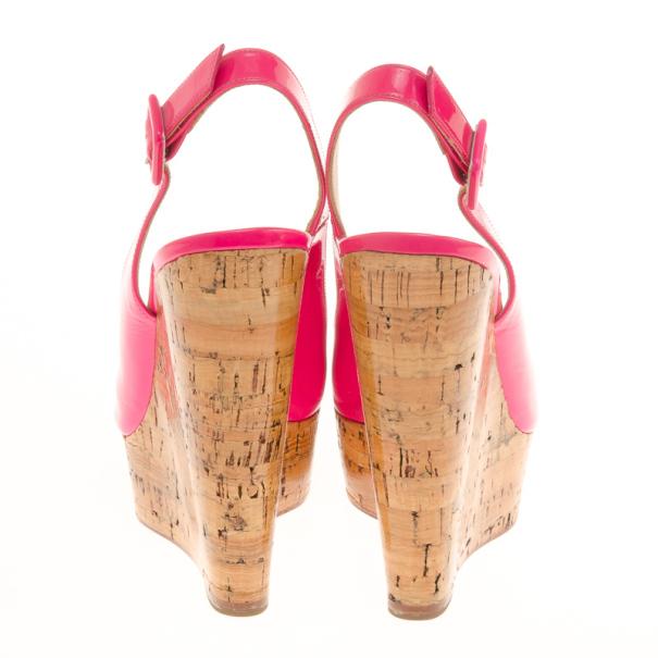 Christian Louboutin Pink Patent Altike Slingback Cork Wedges Size 36