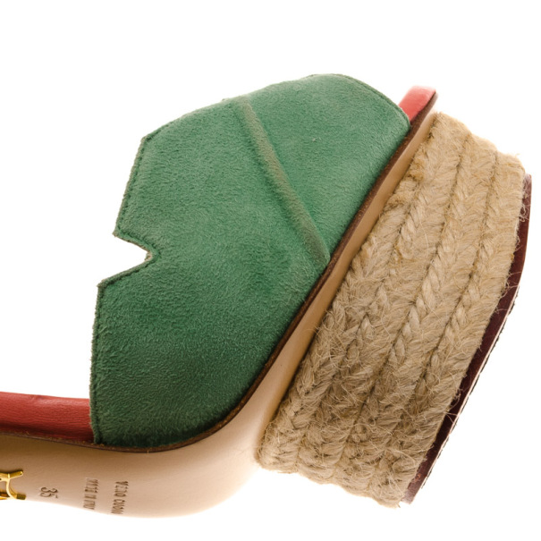 Charlotte Olympia Isla Leaf Espadrille Platform Sandals Size 35