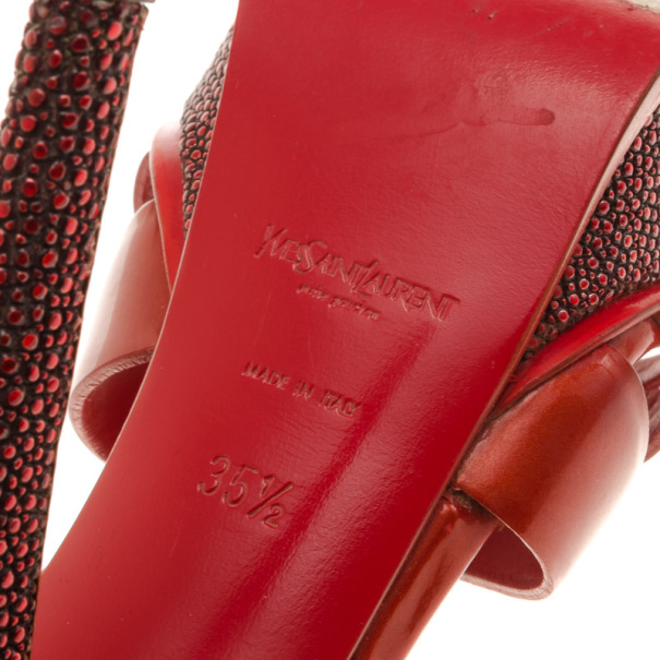 Saint Laurent Paris Red Stingray Heel Tribute Platform Sandals Size 35.5