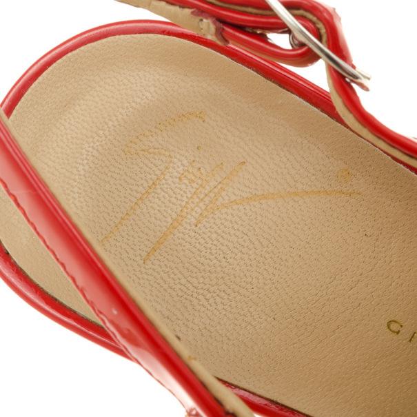 Giuseppe Zanotti Coral Patent Leather 'Monro 105' Platform Peep Toe Slingback Sandals Size 36.5