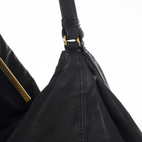 Bottega Veneta Black Nero Waxed Leather Metal Bag