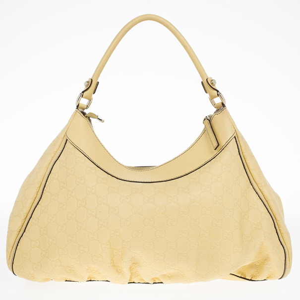Gucci Yellow Guccissima Leather D Ring Large Hobo Bag