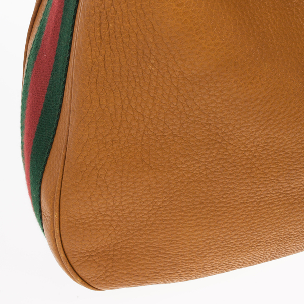 Gucci Brown Leather Gucci Heritage Web Striped Hobo