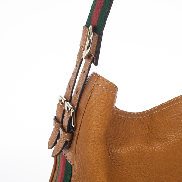 Gucci Brown Leather Gucci Heritage Web Striped Hobo