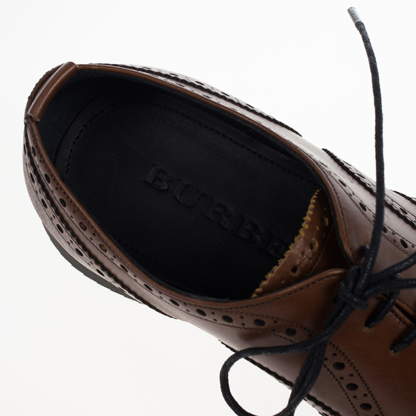 Burberry Chestnut Brown Brogue Leather Oxfords Size 41