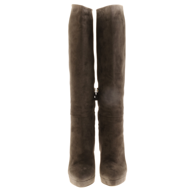 Gucci Grey Suede Platform Knee Boots Size 38.5