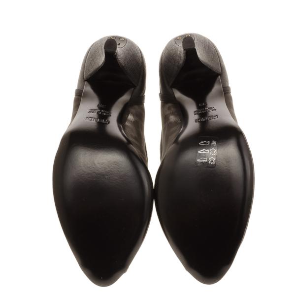 Fendi Zucca Mesh Peep Toe Pumps Size 39