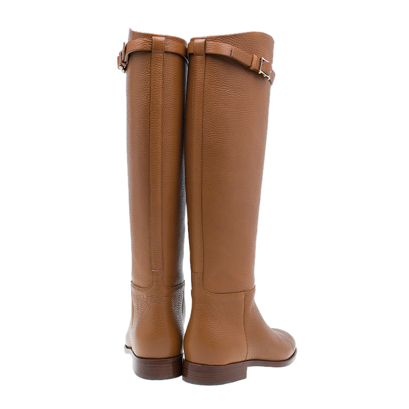 Valentino Brown Leather Rockstud Buckle Riding Knee Boots Size 39