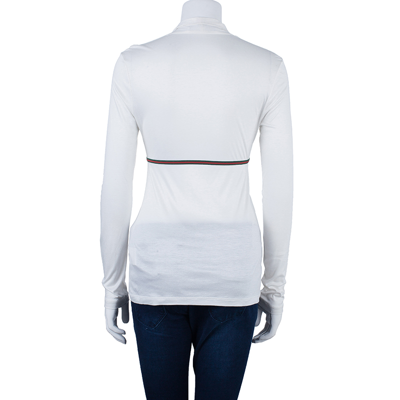 Gucci White Long Sleeve Top M